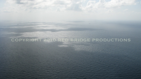 A large oil sheen can be seen near the spill site off the coast of Southern Louisiana
