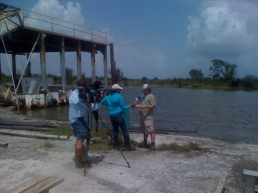 Fox-NO anchor Nancy Parker speaks with photographer Jerry Moran in Cocodrie, la